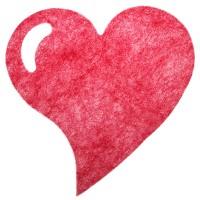 Herzförmiges Tischset rot